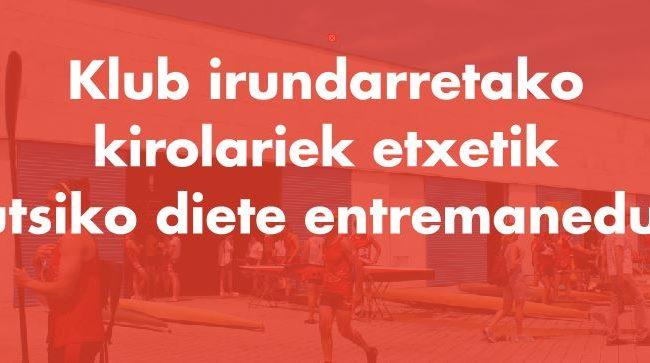 Klub irundarretako  kirolariek etxetik  eutsiko diete entremaneduei