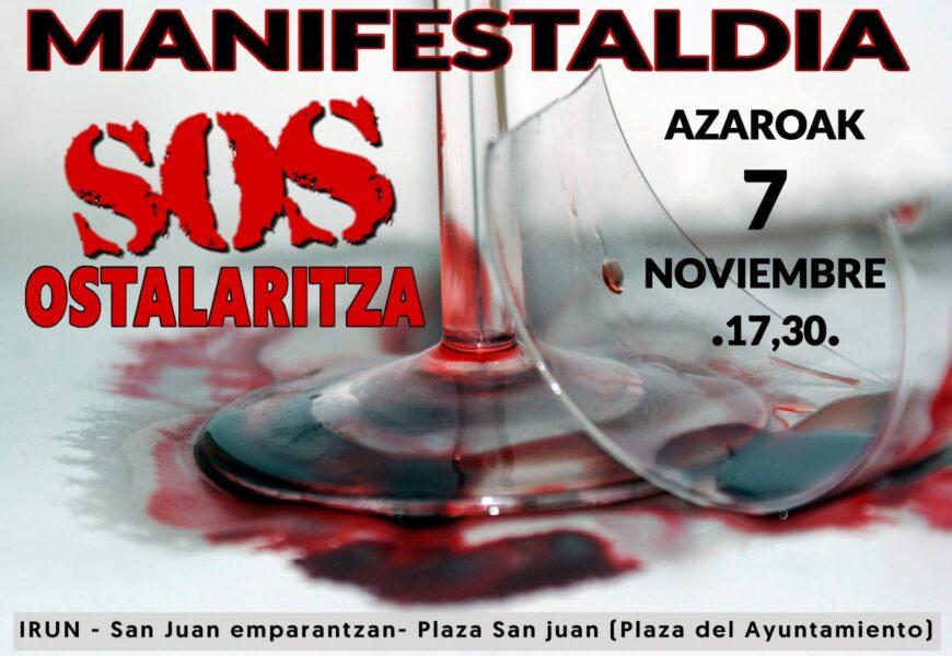 SOS Ostalaritza kolektiboak mobilizazioa deitu du azaroaren 7rako