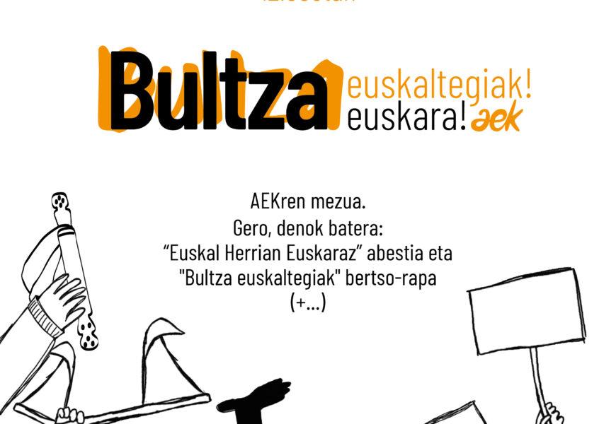 """""""Bultza euskaltegiak! Bultza euskara!"""" ekimena abiatu du AEKak korrikaren hutsunea betetzeko"""
